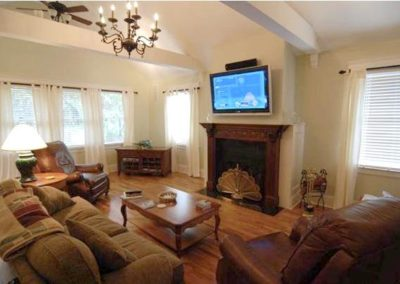 TV over fireplace in great room