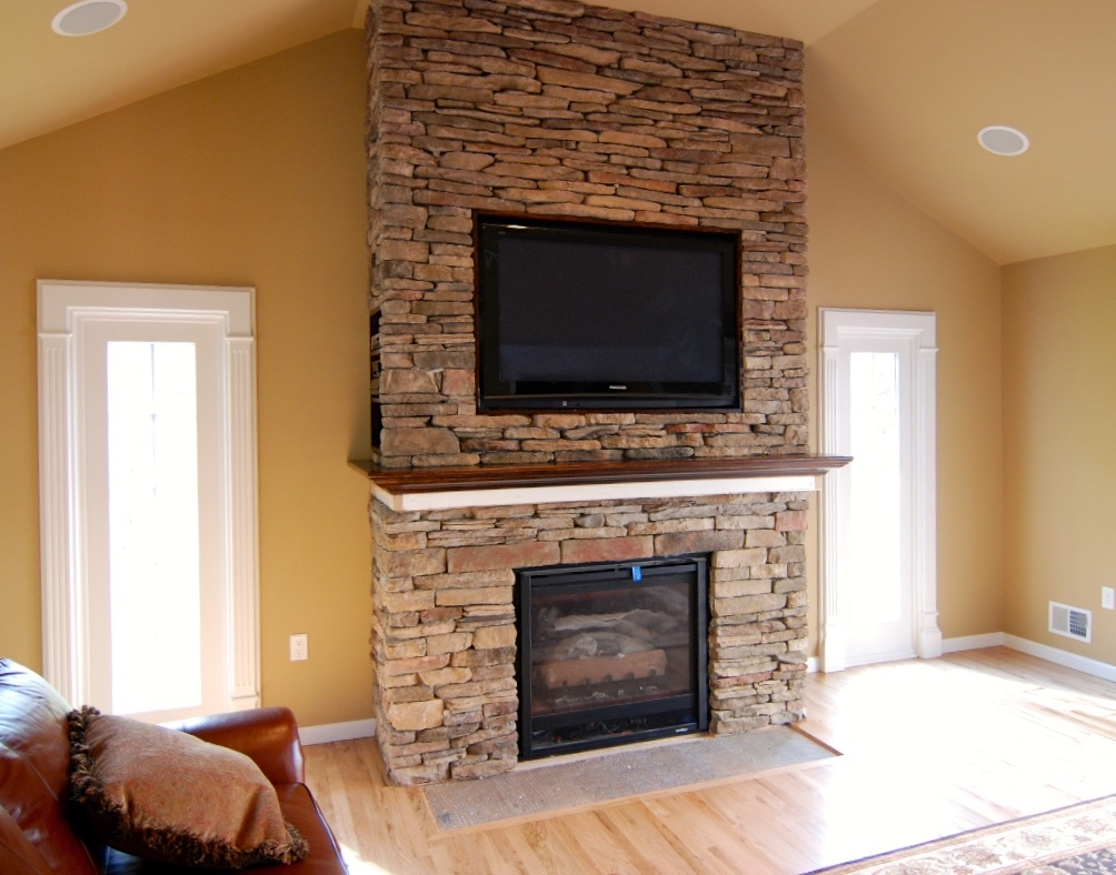 Tv Over Stone Fireplace