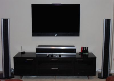TV installed over credenza with surround sound, Madison, NJ
