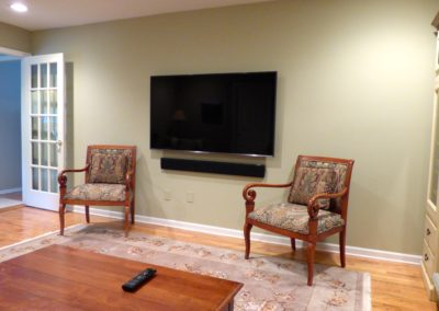 4k TV with floating Sonos Playbar, surround sound, custom installation, control4 automation, bernardsville, nj