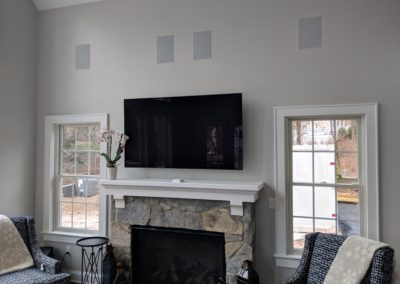 TV and in-wall speakers